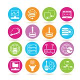 Network icons. Collection of 16 network icons in colorful buttons stock illustration