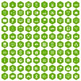 100 network icons hexagon green. 100 network icons set in green hexagon isolated vector illustration Royalty Free Stock Photo