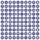100 network icons hexagon purple. 100 network icons set in purple hexagon isolated vector illustration royalty free illustration