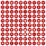 100 network icons hexagon red. 100 network icons set in red hexagon isolated vector illustration Stock Photography