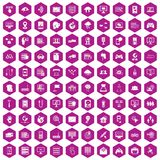 100 network icons hexagon violet. 100 network icons set in violet hexagon isolated vector illustration Vector Illustration