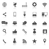 Network icons with reflect on white background Royalty Free Stock Image