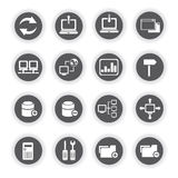 Network icons, round buttons. Set of 16 network icons, round buttons vector illustration