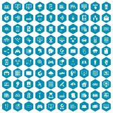 100 network icons sapphirine violet. 100 network icons set in sapphirine hexagon isolated vector illustration Royalty Free Stock Photos