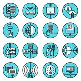 Network icons set blue line Stock Images