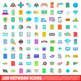 100 network icons set, cartoon style Royalty Free Stock Photos