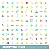 100 network icons set, cartoon style Stock Photography