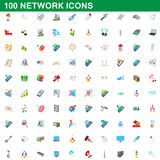 100 network icons set, cartoon style. 100 network icons set in cartoon style for any design vector illustration Stock Photo