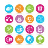 Network icons. Set of 16 network icons in colorful buttons vector illustration