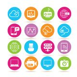 Network icons. Set of 16 network icons in colorful buttons Stock Images
