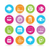 Network icons. Set of 16 network icons in colorful buttons royalty free illustration