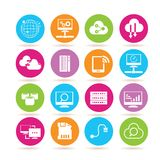 Network icons. Set of 16 network and electronic device icons in colorful buttons vector illustration