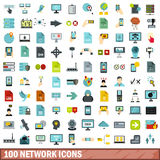 100 network icons set, flat style Stock Photos