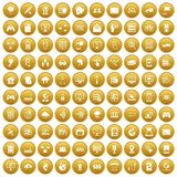 100 network icons set gold. 100 network icons set in gold circle isolated on white vector illustration Royalty Free Illustration
