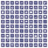 100 network icons set grunge sapphire. 100 network icons set in grunge style sapphire color isolated on white background vector illustration Royalty Free Stock Photography