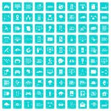 100 network icons set grunge blue. 100 network icons set in grunge style blue color isolated on white background vector illustration Stock Image