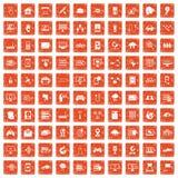 100 network icons set grunge orange. 100 network icons set in grunge style orange color isolated on white background vector illustration Royalty Free Stock Images