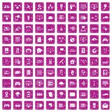 100 network icons set grunge pink. 100 network icons set in grunge style pink color isolated on white background vector illustration Royalty Free Stock Image
