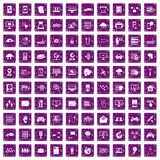 100 network icons set grunge purple. 100 network icons set in grunge style purple color isolated on white background vector illustration Royalty Free Stock Images