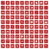 100 network icons set grunge red. 100 network icons set in grunge style red color isolated on white background vector illustration Royalty Free Stock Photos
