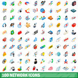100 network icons set, isometric 3d style Royalty Free Stock Photos