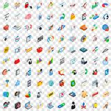 100 network icons set, isometric 3d style Stock Photos