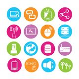 Network icons set. Set of 16 media icons in colorful buttons stock illustration