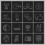 Network icons set outline Stock Photos