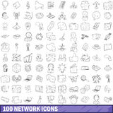 100 network icons set, outline style Royalty Free Stock Image