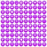 100 network icons set purple. 100 network icons set in purple circle isolated on white vector illustration Stock Photo