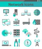 Network icons set Stock Photography