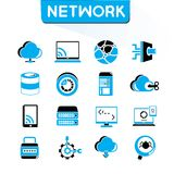 Network icons. Set of 16 network icons set, set, blue color theme royalty free illustration