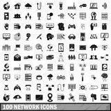 100 network icons set, simple style. 100 network icons set in simple style for any design illustration royalty free illustration