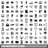 100 network icons set, simple style Stock Images