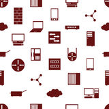 Network icons white simple seamless pattern repaired eps10 Royalty Free Stock Photo