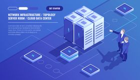 Network infrastructure, server room topology, cloud data center, two businessman, data analysis and statistics, server. Room rack isometric vector technology vector illustration
