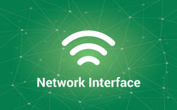 Network interface white text illustration with green constellation as background and signal bar icon Royalty Free Stock Images