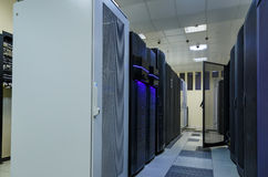 Network and internet communication technology concept, data center interior, server racks with telecommunication Royalty Free Stock Images