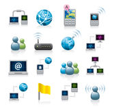 Network or internet icons. A set of internet or computer network icons or graphics on a white background Royalty Free Stock Images