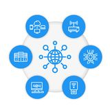 Network, internet technology line icons set Stock Images