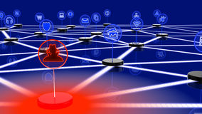 Network of internet of things attacked by a hacker Stock Images