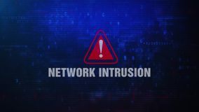 NETWORK INTRUSION Alert Warning Error Message Blinking on Screen . Entering Login And Password on Computer Screen 4K . Abstract Digital Glitch and Distorted stock footage