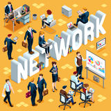 Network Isometric People 3D Set Vector Illustration Royalty Free Stock Images