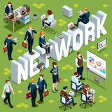 Network Isometric People Icon 3D Set Vector Illustration Stock Image