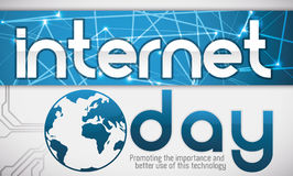Network Label and Globe Promoting the Importance of Internet Day, Vector Illustration Royalty Free Stock Image