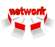 Network - Laptop Computers Linked in Connections. Several laptops connected with arrows to the word Network, representing a social network on the Internet Royalty Free Stock Photos