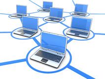 Network of laptops. Abstract network of laptops on white background (done in 3d Royalty Free Stock Photos