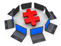 Network of laptops for common solution. 3d laptops around a puzzle piece as network for solution concept Royalty Free Stock Photography