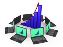 Network of laptops for good financial results. 3d laptops around a growing graph as network for common goal Stock Photos
