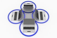 Network laptops inside a circle Royalty Free Stock Photography